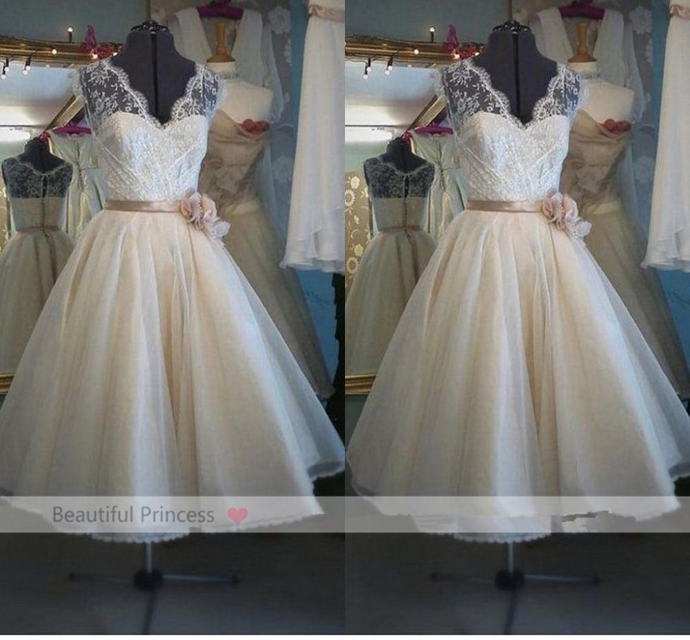 Real Sample summer vestido de noiva 2018 cheap Lace a-line Vintage Tea-Length V-Neck Flowers Bridal Gown   bridesmaid     dresses