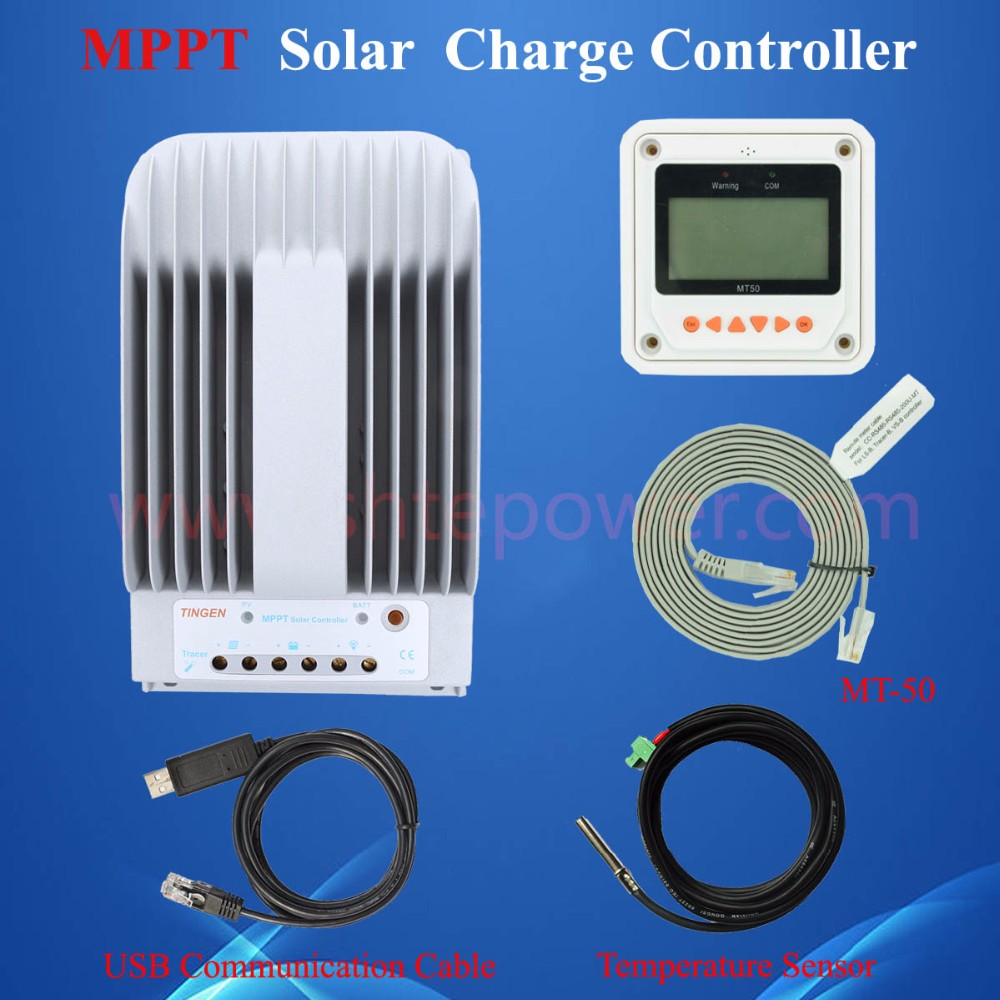 Hot Sale 30A 12V 24V New Tracer 3215BN 30 amps Programmable MPPT Solar Charge Controller with MT50 and USB & Temperature Sensor