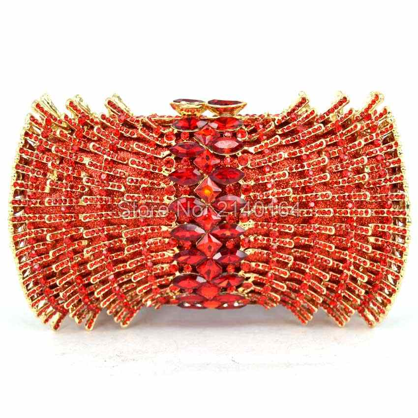 Women Party Handmade Red Diamond Clutch Bag Bridal Wedding Beaded bags  Metal Clutches Hard Case Crystal 09af89e3d33c