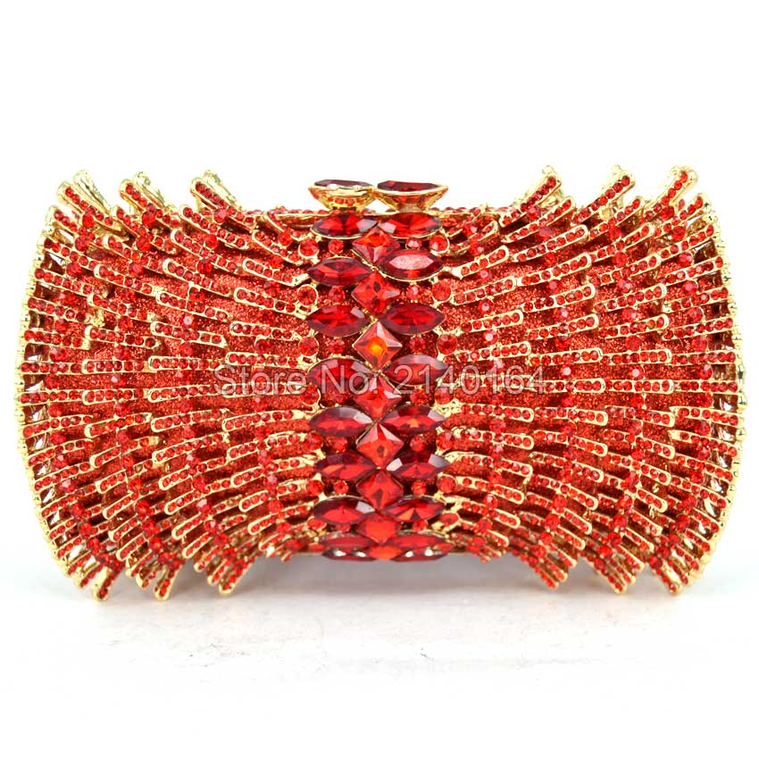 Women Party Handmade Red Diamond Clutch Bag Bridal Wedding Beaded bags Metal Clutches Hard Case Crystal Beading Evening Bag Q12 golden crystal diamond rabbit women evening clutch bags bridal wedding dress handbags shoulder purses hard case metal clutches