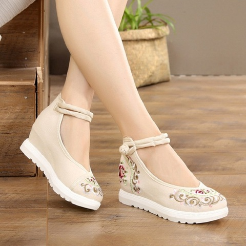 Women Canvas Increasing Height Ankle Strap Spring Autumn Shoes China Style Vintage Embroiders Wedges Heels Lady Shoes 20180907 Lahore