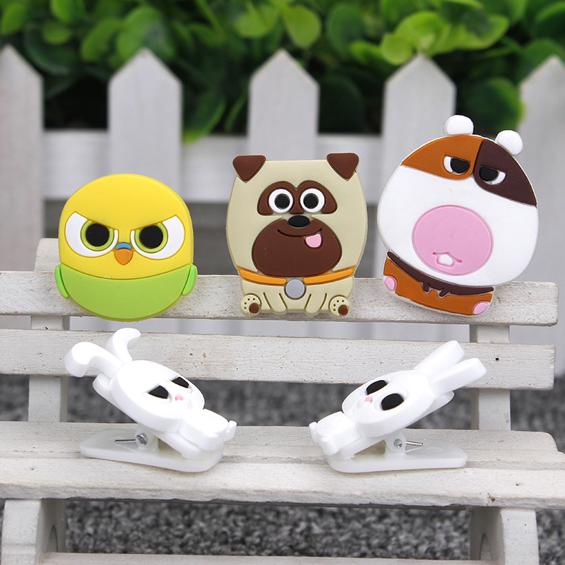 Cartoon Cute Animals Clips For Kids Kawaii Pets Novelty Cat Dog Rabbit Decorative Food Bag Clips Home Office Storage Sturdy Construction Home Office Storage