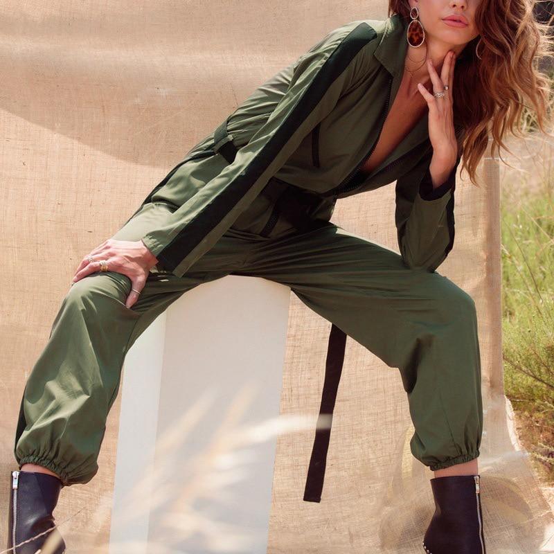 ae074bf1c238 Women Cargo Jumpsuit Buckle Belt Military Romper Front Zip Striped  Turtleneck Overalls Green Female Long Sleeve Pants Streetwear