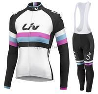 LIV 2016 Women Long Sleeve Cycling Clothes Bike Cycling Jersey Bib Pants Sports Kit Ropa Maillot