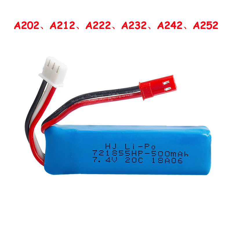 WLtoys Lithium <font><b>Battery</b></font> for A202 A212 A222 A232 A242 A252 RC Car <font><b>7.4V</b></font> <font><b>500mAh</b></font> <font><b>Battery</b></font> Spare Parts image