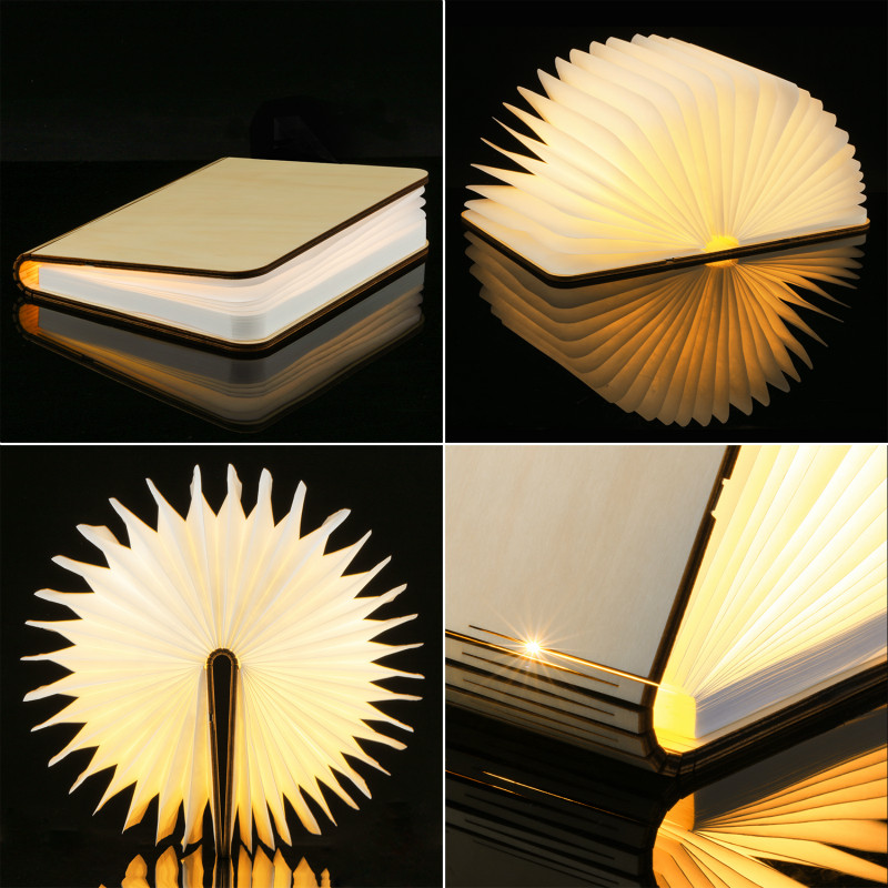 LED Night Light Folding Book Light USB Rechargeable Wooden Magnet Cover Table Lamp Desk Ceiling Decor White/WarmWhite Colorful led night light folding pages book light creative usb port rechargeable desk lamp wooden magnet cover home table light lamp