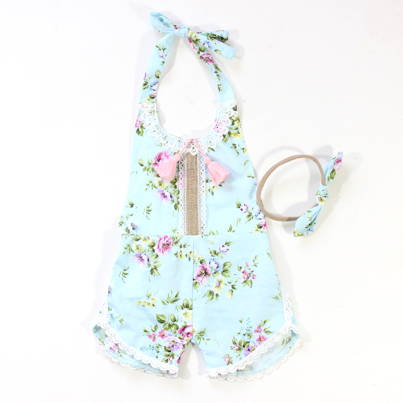 f11e2858f ᑐ Toddler Girls Jumpsuits Rose Floral Printed Baby Girl Ruffle ...