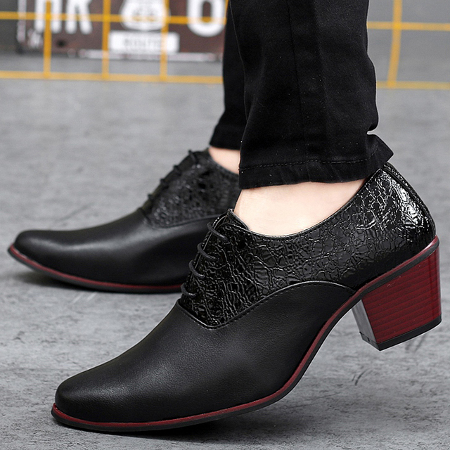 d93993fb495d Italian Fashion Embossing Leather Patchwork High Heels Dress Oxfords Mens  Party Wedding Shoes High Increasing For Tide Boys 2016