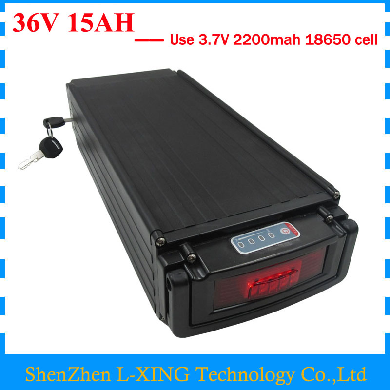 цены Electric Bike battery 36V 15AH 500W 36 V 15AH lithium battery pack with tail light use 2200mah 18650 cell 15A BMS 42V 2A Charger