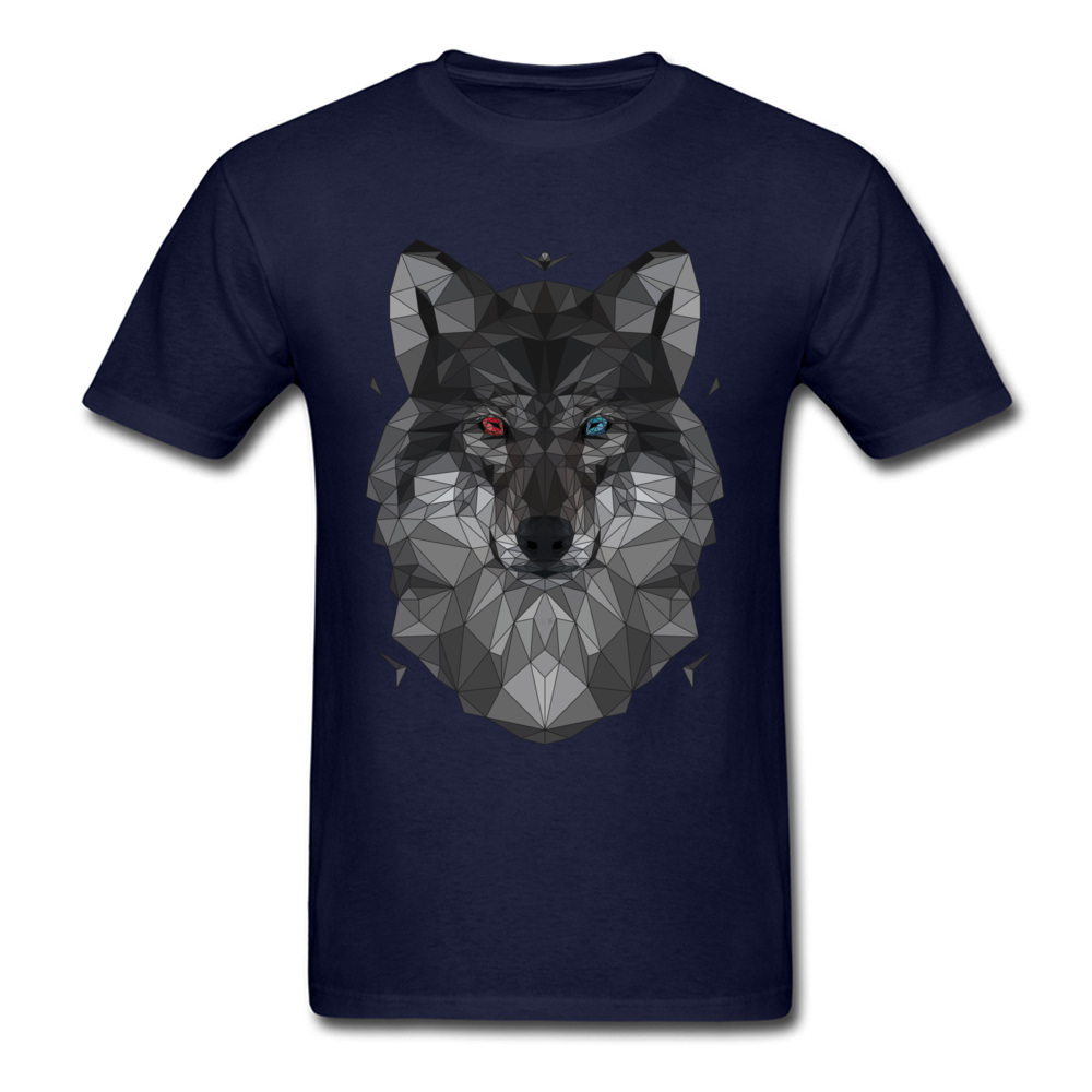d6af0a6f0cd Cool Guys T Shirts Men 3D Geometric Wolf T Shirt 100% Cotton Young ...