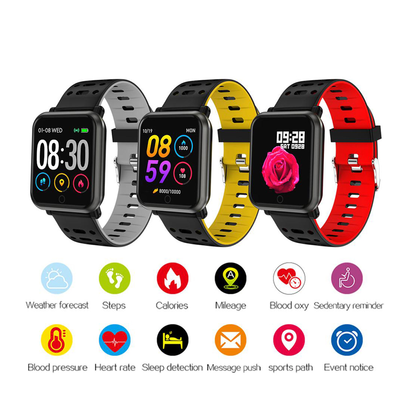 Color Screen Smart bracelet fitness tracker Sport Smart Watch Men Women heart rate blood pressure sleep Bluetooth Wristband(China)