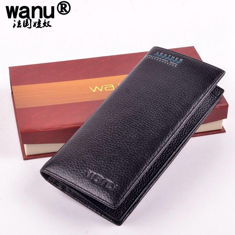 WANU 100% genuine COW leather mens wallet premium product real cowhide wallets for man short black walet homme purse handbag