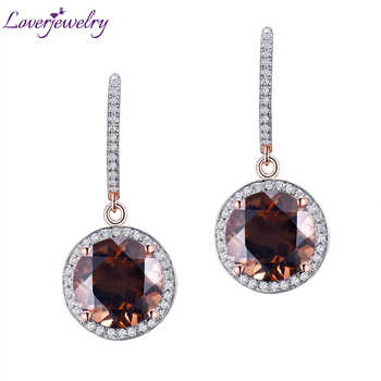 Vintage Solid 14Kt Rose Gold Natural Diamond Smoke Topaz Earrings For Sale E0006 - DISCOUNT ITEM  0% OFF All Category