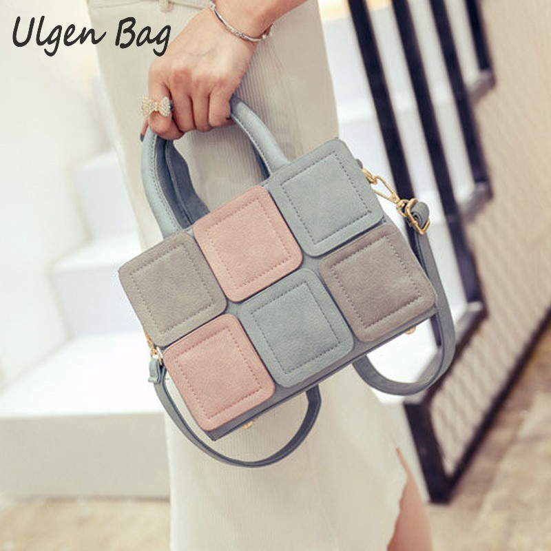2016 New Stitch Tote bag Women s leather suede handbags for Women Ladies Fashion Suede Messenger
