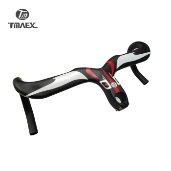 New Compact Type Road Bike 3K Full Carbon Bicycle Handlebars And Stem Integrated 400/420/440*90/100/110/120mm Red logo