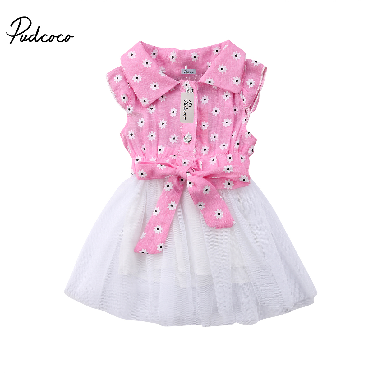 New Cute Girl Princess Dress Newborn Kids Baby Girls Floral Bowknot Lace Tulle Dress Infant Summer Party Mini Dress ems dhl free 2018 new lace tulle baby girls kids sleeveless party dress holiday children summer style baby dress valentine