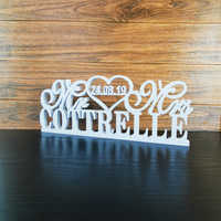 Custom Mr & Mrs Last Name And Date Standing Wedding Table Sign, Personalized Wedding Party Decoration,Wedding Supplies