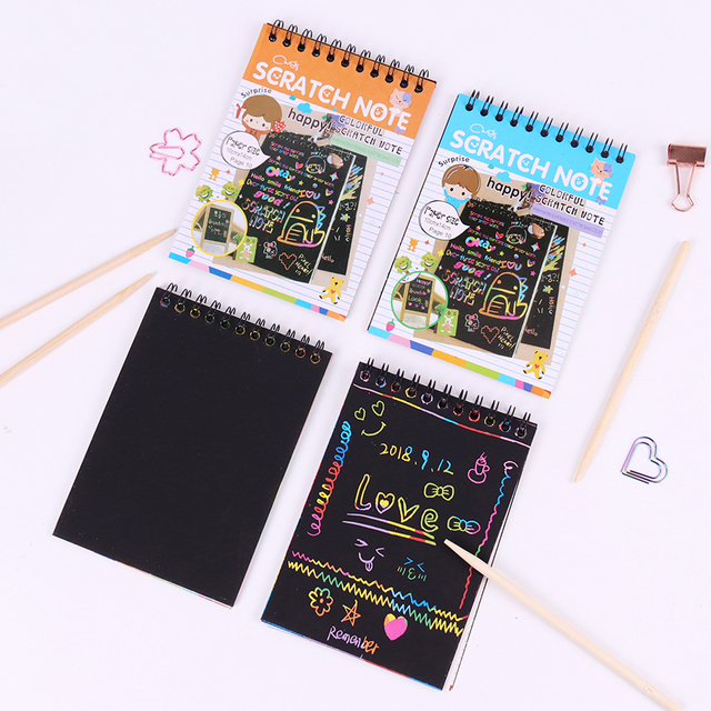 Black Scratchbook with Pen