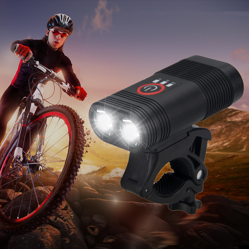 Double LED USB Rechargeable Road MTB Bike Front Light 20W Head Lamp Car Charger