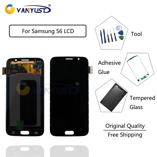100% Testes Original Super Amoled LCD Screen Touch Digitizer Assembly For Samsung Galaxy S6 G920A G920F SM-G920F free gift