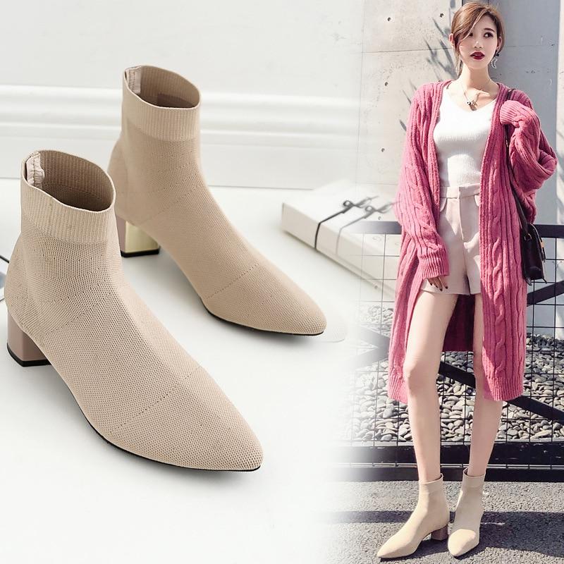 Las E 1 Nuevo Stovepipe Zapatos 2 Otoño Botas Mujer Mujeres Lana Invierno De Punto Elástico Venta 2018 qBUxpwPFF
