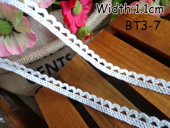 Хлопковая кружевная лента 11mmx50yards швейная лента, белый кружевное полотно, бобинетовое кружево обрезанная лента - Цвет: Белый