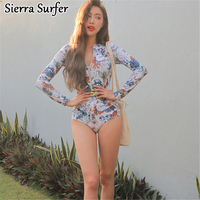 Long Sleeved Diving Suit Conservative Conjoined Sexy Pattern Covered Belly Thin Hot Spring Vacation Swimsuit