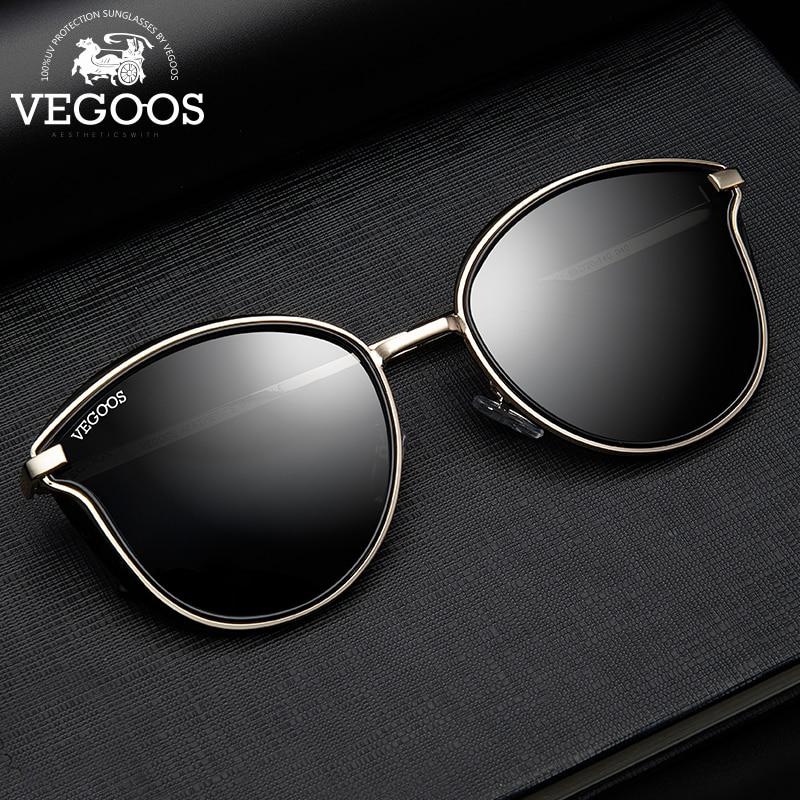 VEGOOS Sunglasses Women Polarized UV Protect Fashion Round Style Colorful Mirrored Lens Vintage Cat Eye Sun Glasses Oculos #6115