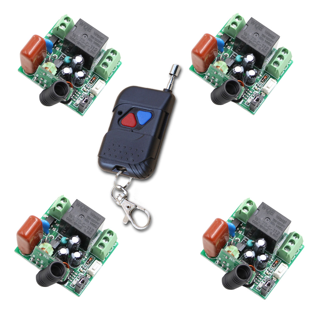 AC 220V Remote Control on/off Wireless Controller Switch Teleswitch 315Mhz 1 CH 10A Mini Relay 4 Receivers + 2CH Transmitter wireless remote control switch ac 220v 1ch high power 4 receivers transmitter on off controller home office pump led motor fan