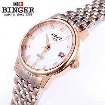 Здесь можно купить   Binger brand Wristwatch new 2017 men watches Luxury Mechanical Date Mens Stainless Steel waterproof watch Gold Roma Watch Часы