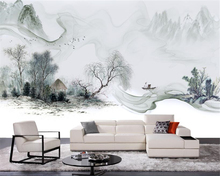 beibehang Simple Chinese new fashion personality 3d wallpaper style ink landscape wall sofa background papel de parede