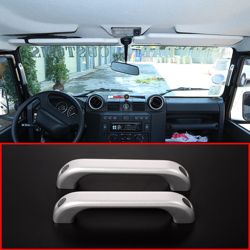 For Land Rover Defender 110 For Landrover Defender 90 Car Interior Aluminum alloy A Pillar Door Handle Trim Car Accessories 2pcs for land rover defender 110 for landrover defender 90 car interior matte chrome aluminum alloy grab handle trim accessories