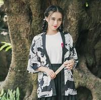 Unisexe Japonais Style Casual Yukata Vintage Tiger Imprimer Cardigan Manteau