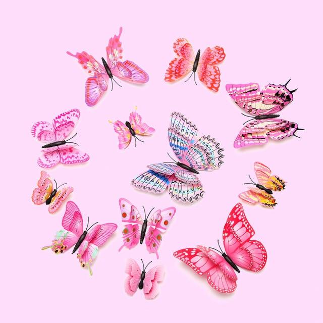 12 pcs Multicolor Camada Dupla Asas 3D Butterfly Adesivos de Parede Borboletas Festa Kids Bedroom Decor Frigorífico Magnética Imã de Geladeira EM PVC