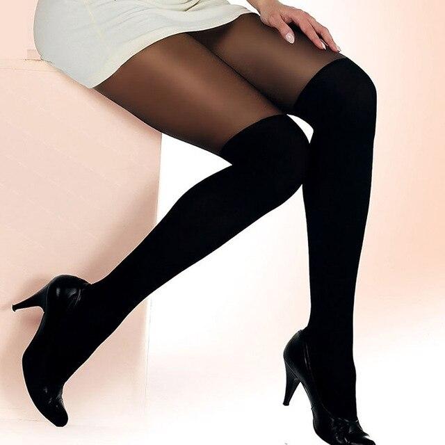 Эластичные колготки с имитирующим коленом, сексуальные колготки на подтяжках, свободный размер