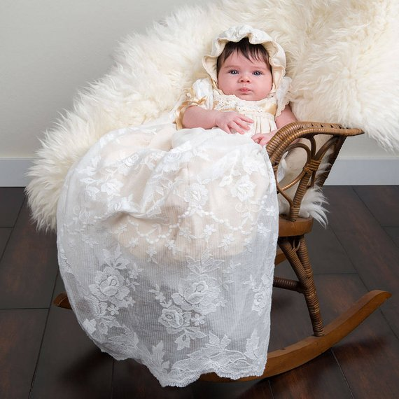 Stunning Infant Girls Christening Gown Baptism Dress Long Baby Girls Dedication Dress Blessing Baptism Gown Size 3 6 9 15 24M