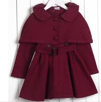 2017 Autumn Winter Girls Clothes New Children Dress High Quality Woolen Child Dress Shawl Dress Kids