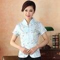 Light Blue Flowers Women Summer Satin Shirt Chinese Vintage Embroidery Blouse V-Neck Short Sleeve Tops Size S M L XL XXL XXXL