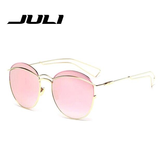 eaa9be499 JULI Fashion Women Cat Eye Sunglasses Classic Brand Designer Twin-Beams  Sunglasses Coating Mirror Flat