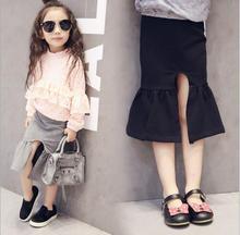 Gris y negro 2016 del verano nuevas niñas falda lápiz moda de split para niños falda material de algodón volantes traje pettiskirt 2 – 7 T faldas