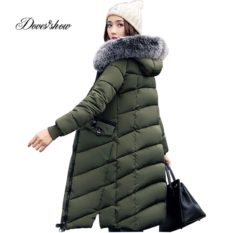 Women Winter Jacket Women Fashion Padded Coat Hooded Fur Collar Overcoat Women Parka Wadded Casaco Feminino