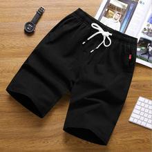 High quality 2019 summer Casual cotton linen Elastic Waist men flax loose sand beach trousers Solid shorts Men Plus Size 4XL