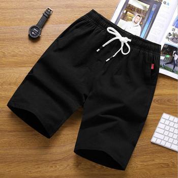 цена на High quality 2020 summer Casual cotton linen Elastic Waist men flax loose sand beach trousers Solid shorts Men Plus Size 4XL