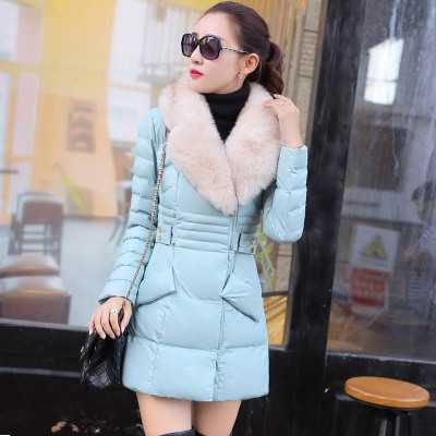 Winter Pu Leather Women Duck Coats Fur Collar Medium-Long Thicken Women Parka Jacket Plus Size XXL A3861