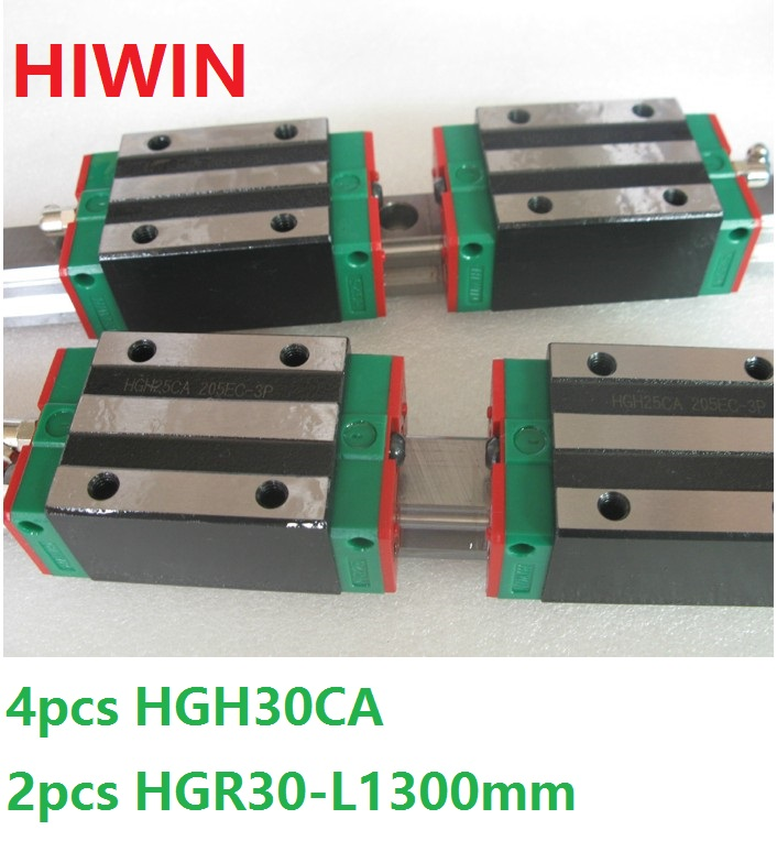 2pcs 100% original Hiwin linear guide HGR30 -L 1300mm + 4pcs HGH30CA narrow block for cnc router 1pcs 100% original hiwin linear guide hgr30 l 300mm 1pcs hgh30ca narrow block for cnc router