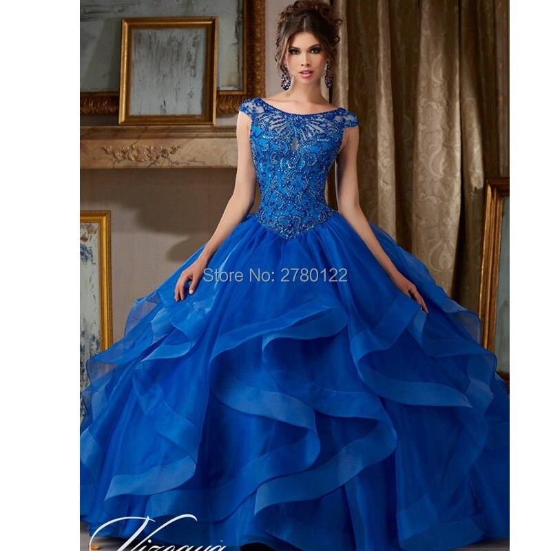 Vestido 15 Anos Azul Rojo Quinceañera Vestidos Jewerly Ball