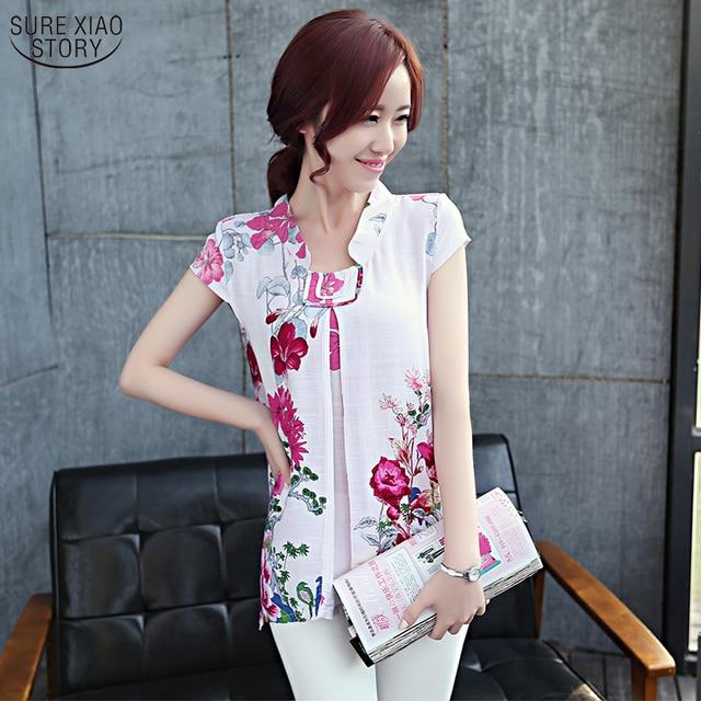 2015 Summer tops National Wind Floral cotton loose vintage short-sleeved shirt blouse Women shirts plus size 4XL 108G 30