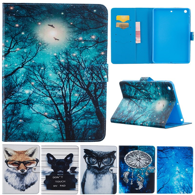 Fashion Cute Cartoon For Ipad Mini 1 2 3 Animal Owl Dog Fox Wallet Card Leather Stand Case Cover For Ipad Mini2 Mini3 Funda Capa