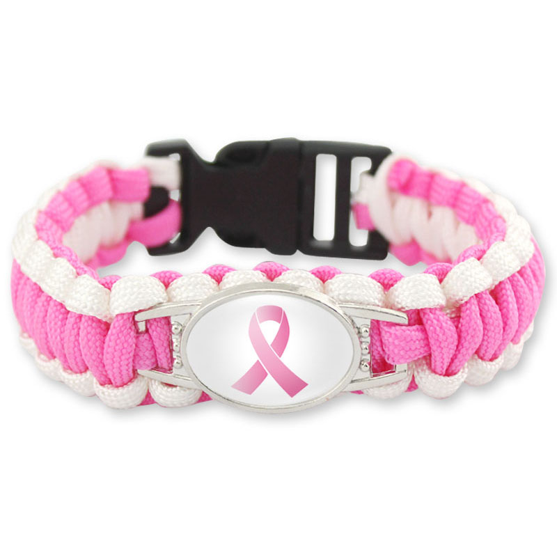 Breast Cancer Awareness Medical Alert Bracelet Outdoor Camping Rescue Braided Rope Paracord Survival Bracelet For Women