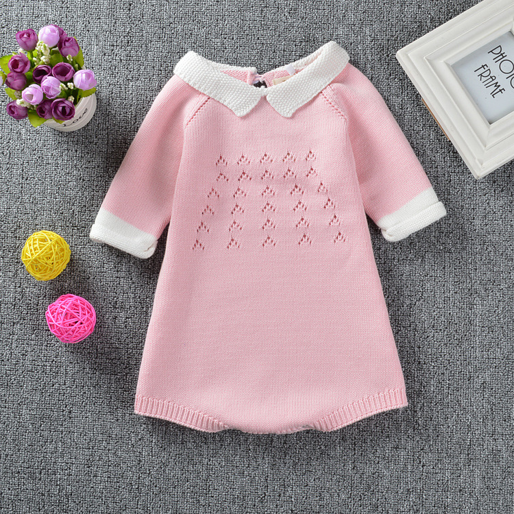 Super Cute Pink Girls Dress 1 4Y Knitted Crochet Baby Girl Romper 2Color Little Princess Dresses